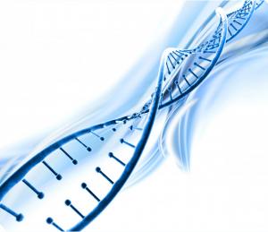 imagem em azal de fita dupla de DNA em alusão à herança genética