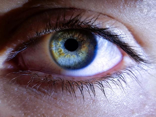 imagem ampliada de um olho humano de cor azul e verde
