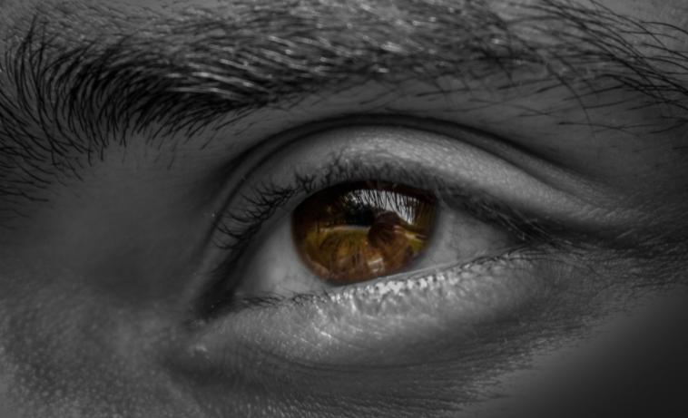 imagem ampliada em preto e branco de olho com a íris colorida, castanho